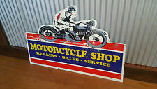 Motorcycle Shop Cutout Metal Tin Sign Bar Garage Man Cave Sales Service Repairs