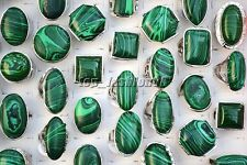 FREE Wholesale Lots 20Pcs Big Green Natural Malachite Gemstone Silver P Rings