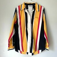 Escada Sport Women's Size M Retro Vintage Striped Button Up Collar Blouse Top