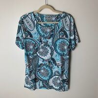 JM Collection Women's Top Size Large Short Sleeves Floral Paisley Casual Blue