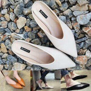 Women Flat Shoes Fashion Mules Flip flop Leather Pointed Toe Slip Summer Slip on