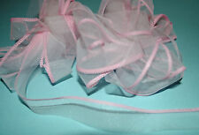 ***DELICATE WHITE ORGANZA With Pink Edge  -  Ribbon - 15mm Wide ***