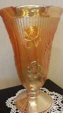 """CARNIVAL GLASS JEANNETTE IRIS AND HERRINGBONE VASE, 9"""""""