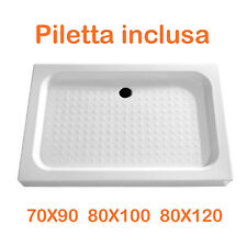 Piatto doccia rettangolare resina acrilico H 13 cm antiscivolo con piletta PROMO
