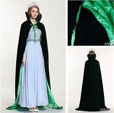 "Long Velvet Satin Cloak 71"" High Collar Cape Coat Parade Pageant Parade -Emerald"