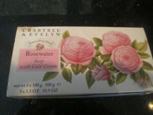 VINTAGE SET OF 3 CRABTREE & EVELYN ROSEWATER COLD CREAM SOAPS 3.3.5 OZ