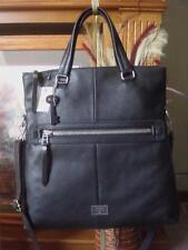 NWT FOSSIL DAWSON BLACK LEATHER FOLDOVER CONVERTIBLE CROSSBODY TOTE BAG ~$268