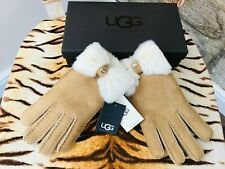 NEW UGG AUSTRALIA SUNBURST TAN SHEEPSKIN SHORTY GLOVES SIZE LARGE  R.R.P. £125