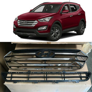 Front Upper & Lower Bumper Grille Grill Set for 2013 2016 Hyundai Santa Fe Sport