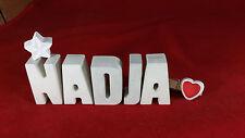 Beton, Steinguss Buchstaben 3D Deko Namen NADJA als Geschenk verpackt!