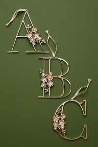 """New Anthropologie Floral Monogram Letter Initial Ornament Gold Metal Gift 4.25"""""""