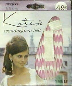 Vintage New Kotex Wonderform Sanitary Napkin Belt & 12 Tabbed Napkins