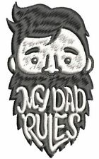 Happy Smiling Black White Male Beard - My Dad Rules Patch Applique Embroidery