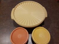 Lot of 3 Vintage Tupperware Containers Yellow Orange 886 812 880 881 With Lids