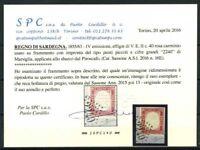 Sardegna 1855 Sass. 16E Usato 100% Cardillo cert. Sorani Marsiglia