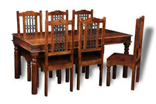 JALI SHEESHAM 180CM DINING TABLE AND 6 JALI CHAIRS (J42&6J46)