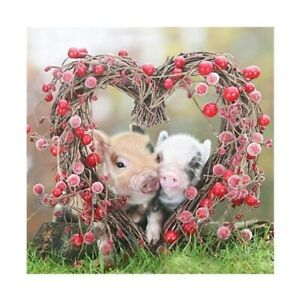 Diamond Painting 5D Full Drill Heart Pigs Embroidery Cross Stitch Kits Art Gifts