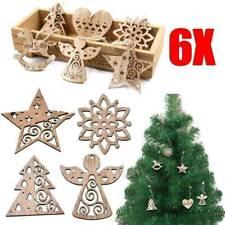 6Pcs Xmas Wood Chip Tree Ornaments Hanging Pendant Party Christmas Decorations