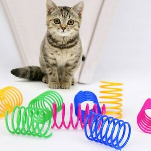 New 4 Pack Cat Spring Toy Plastic Colorful Coil Spiral Springs Pet Action Wide D