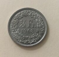 1968 Switzerland 1/2 Franc Coin Old Coin Vintage Coin World Coin