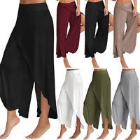 Women's Slit Flared Palazzo Yoga Pants Wide Leg Loose Chiffon Harem Trousers G18