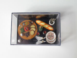 Dollhouse Miniatures *FARMERS BRUNCH Tray* Plate Wine Fruit Bread Sausage Napkin