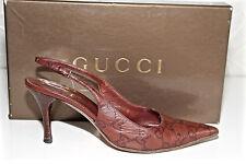 lujoso zapatos piel marrón tacones 7 cms GUCCI crystall GG talla 35 C en caja
