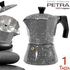 Caffettiera 1 Tazza Petra Stone Alluminio MOKA Caffè Espresso Macchinetta Caffè