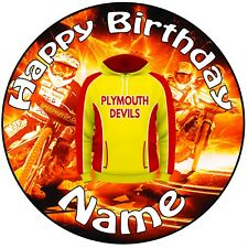 """Plymouth Devils Speedway icing Cake Topper 8"""" (20cm) Circle -  ANY NAME & AGE"""