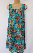 NEXT BNWT Ladies summer aqua floral print crochet back crinkle tunic dress 8