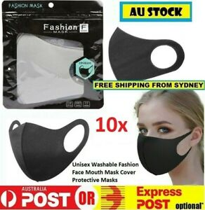 10x Reusable Washable Lightweight Fashion Face Mask (Black & Cream 10 Pack)