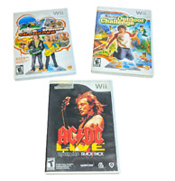 Lot of 3 Nintendo Wii Video Games Active Life Extreme, Outdoor and ACDC Live