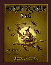 HAREM SCAREM Mother Goose Witch & demon 8x10 Vintage sheet music cover Art print