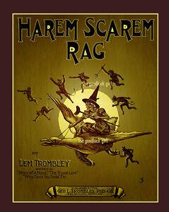 HAREM SCAREM Witch & demon 8x10 Vintage Halloween sheet music cover Art print