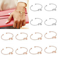 Rose Red Adjustable Cuff Open Bangles for Women Wire Bangles Bracelets Charms