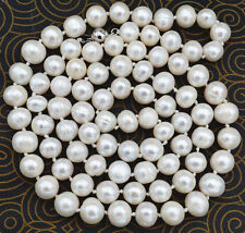 "NEW Natural! 8-9mm White Akoya Cultured Pearl Necklace 25"" 18k Gp"