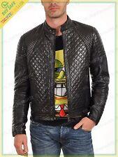Men's Stylish Lambskin Genuine Leather Quilted Biker Jacket Black Winter Black