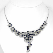Genuine AAA Blue Sapphire & Cz 925 Sterling Silver Necklace 17-75 in. / 45.2 mm