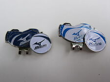 2x Golf Ball Markers & Hat Clips ~ Mizuno ~ Blue & White 'Golfbags'