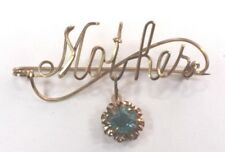 Brooch Pin - Mother - Cursive - Flower Dangle Blue & White Rhinestones Gold Tone