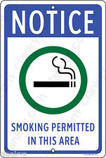 "SMOKING PERMITTED in this Area 8""x12"" Aluminum Sign Made in the USA UV Protected"