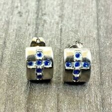 VINTAGE STERLING SILVER STUD EARRINGS CROSS STONE PATTERN