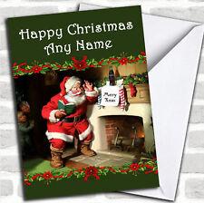 La visita de Santa Navidad Personalizado Tarjeta Personalizada