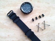 For Suunto Core Watch Band Black 24MM Tactical Nylon Zulu 5-Ring Strap +Adapter