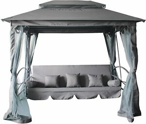 4 Sitzer Hollywoodschaukel mit Bett Funktion + Pavillon Ascending Gartenschaukel
