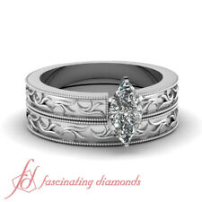 1/2 Ct Marquise Cut SI1-D Color Diamond Leaf Style Solitaire Wedding Rings Set