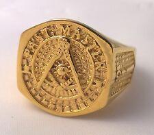 G-Filled Mens 18k yellow gold Masonic CHUNKY Freemason ring Mason 15.3 g US 11.5