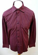 "TAYLOR & WRIGHT Men's Red Burgundy Cotton Blend Shirt Collar 16.5"" Chest 44"""