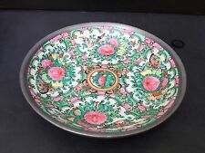 Pewter & Porcelain Bowl Decorated In Hong Kong - 1960 Is Co.