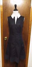 Akris Bergdorf Goodman Black PLeated Cotton Zip Front Shift Dress Sz 10